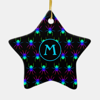Monogram Rainbow spiders on black Christmas Ornament