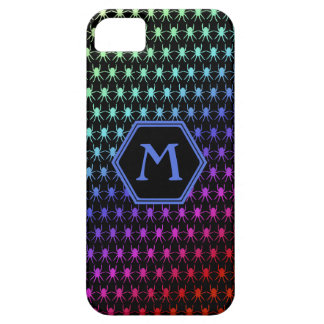Monogram rainbow spiders on black iPhone 5 case