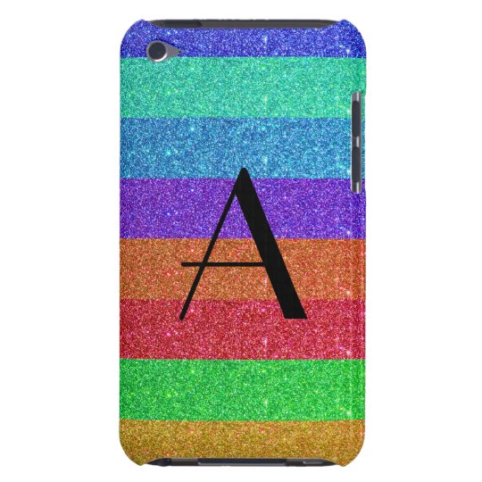 Monogram rainbow stripes glitter iPod touch covers