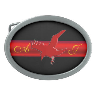 Monogram, Raven logo with red chrome-effect stripe Belt Buckle