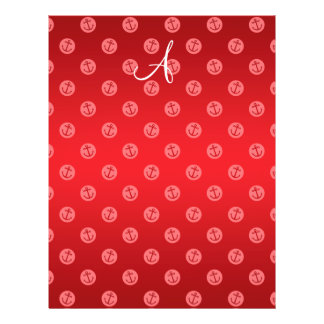 Monogram red anchors polka dots personalized flyer