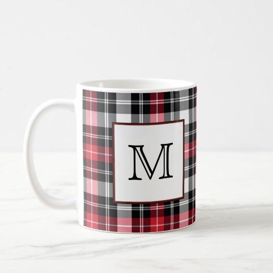 Monogram Red and Black Plaid Coffee Mug