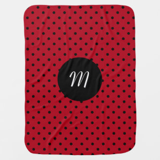 Monogram Red and Black Polka Dots Baby Blanket