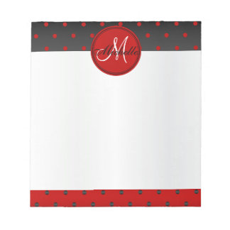 Monogram Red and Black Polka Dots Notepad