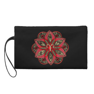 Monogram Red and Gold Zodiac Sign Aries Mandala Wristlet