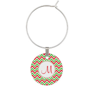 Monogram Red and Green Chevron Pattern Christmas Wine Charm