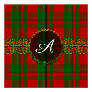 Monogram Red And Green Christmas Plaid