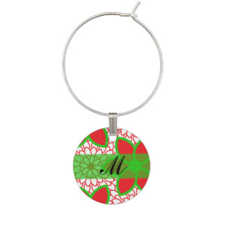 Monogram Red and Green Modern Floral Christmas Wine Charm