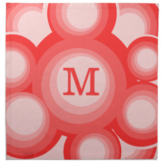 Monogram Red and Pink Circles Cloth Napkin