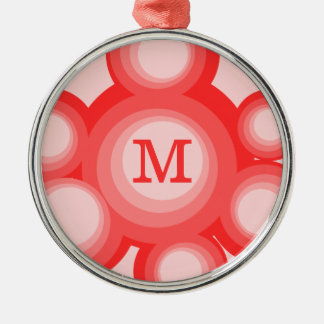 Monogram Red and Pink Circles Christmas Ornaments