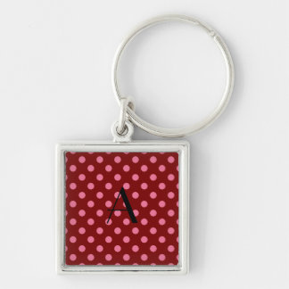 Monogram red and pink polka dots keychain