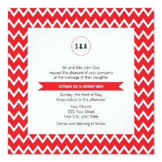Monogram Red and White Chevron Pattern Wedding 13 Cm X 13 Cm Square Invitation Card