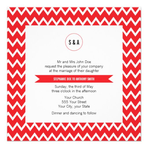 Monogram Red and White Chevron Pattern Wedding Invite