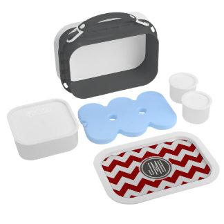 Monogram: Red And White Chevron Stripes Lunchbox Yubo Lunch Box