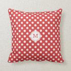 Monogram: Red And White Polka-dot Pillow