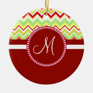 Monogram Red Aztec Andes Tribal Chevron Zig Zags Christmas Ornament