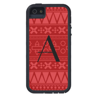 Monogram red aztec pattern iPhone 5 covers