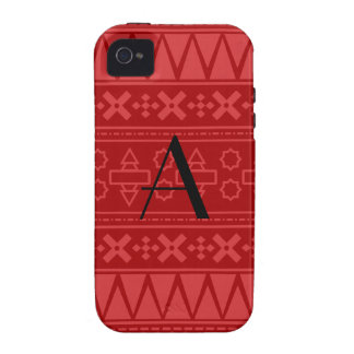 Monogram red aztec pattern iPhone 4/4S covers