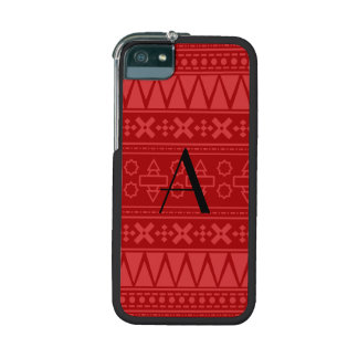 Monogram red aztec pattern cover for iPhone 5/5S
