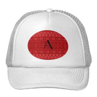 Monogram red aztec pattern trucker hats