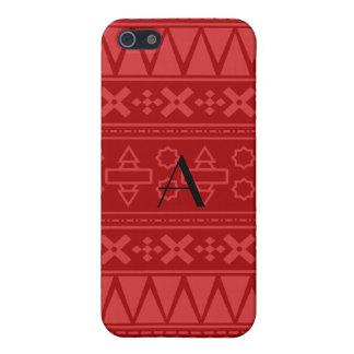 Monogram red aztec pattern iPhone 5 case