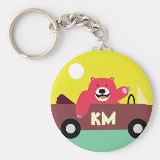 Monogram - Red Bear in Car Basic Round Button Key Ring