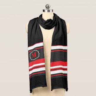 Monogram Red, Black and White Stripe Scarf