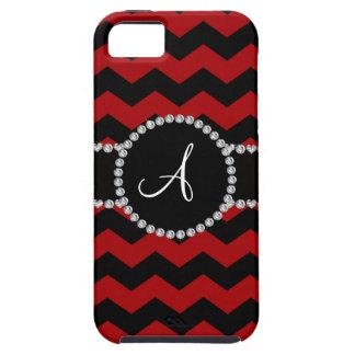 Monogram red black chevrons black stripe iPhone 5 case
