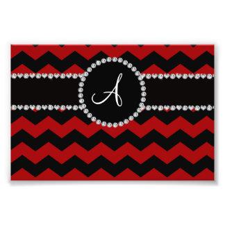 Monogram red black chevrons black stripe art photo