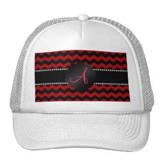 Monogram red black chevrons cap