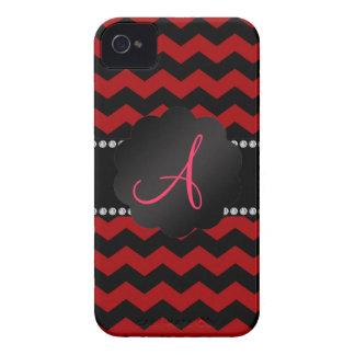 Monogram red black chevrons Case-Mate iPhone 4 case