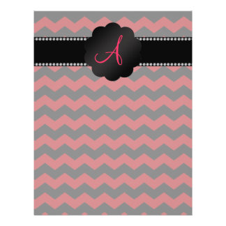 Monogram red black chevrons flyer design
