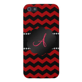 Monogram red black chevrons covers for iPhone 5