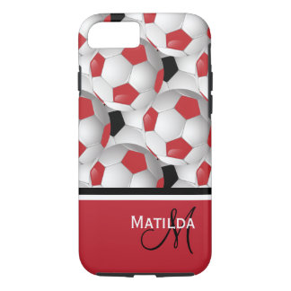 Monogram Red Black Soccer Ball Pattern iPhone 8/7 Case