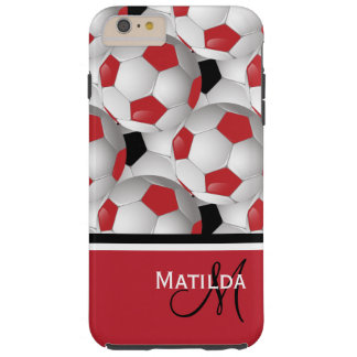 Monogram Red Black Soccer Ball Pattern Tough iPhone 6 Plus Case