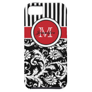 Monogram Red Black White Striped Damask iPhone 5 Covers