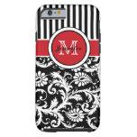 Monogram Red Black White Striped Damask Tough iPhone 6 Case