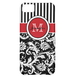 Monogram Red Black White Striped Damask iPhone 5C Case