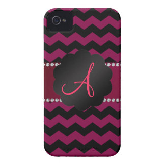 Monogram red burgundy and black chevrons iPhone 4 cases