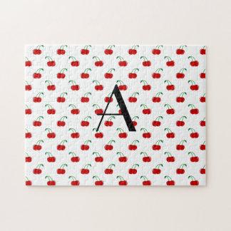 Monogram red cherries jigsaw puzzle