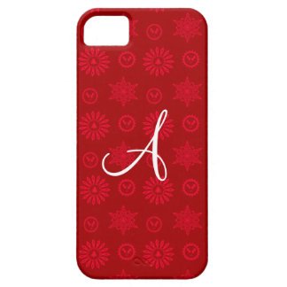 Monogram red christmas stars snowflakes iPhone 5 covers