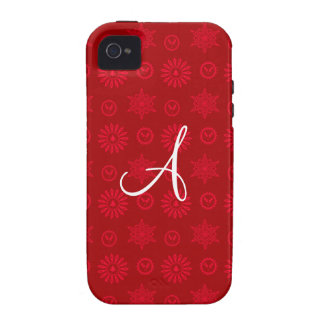 Monogram red christmas stars snowflakes iPhone 4 cover