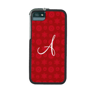 Monogram red christmas stars snowflakes cover for iPhone 5/5S