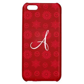 Monogram red christmas stars snowflakes iPhone 5C cases