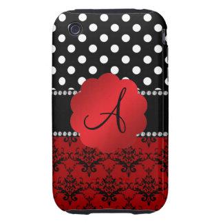 Monogram red damask black polka dots tough iPhone 3 cases