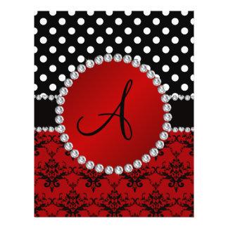 Monogram red damask black polka dots diamonds flyers