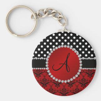Monogram red damask black polka dots diamonds keychains
