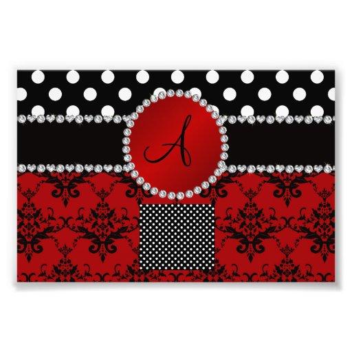 Monogram red damask black polka dots diamonds art photo