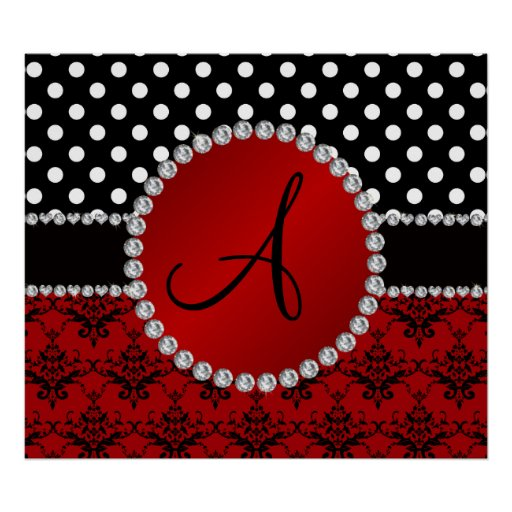 Monogram red damask black polka dots diamonds print