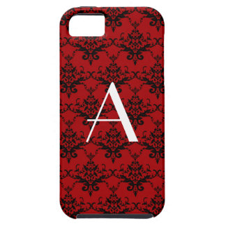 Monogram red damask iPhone 5 cover